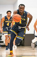WASHINGTON, DC - FEBRUARY 22: David Betty #1 of La Salle races up court during a game between La Salle and George Washington at Charles E Smith Center on February 22, 2020 in Washington, DC.