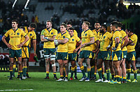 The dejected Wallabies after the Bledisloe Cup and Rugby Championship rugby match between the New Zealand All Blacks and Australia Wallabies at Eden Park in Auckland, New Zealand on Saturday, 25 August 2018. Photo: Simon Watts / lintottphoto.co.nz