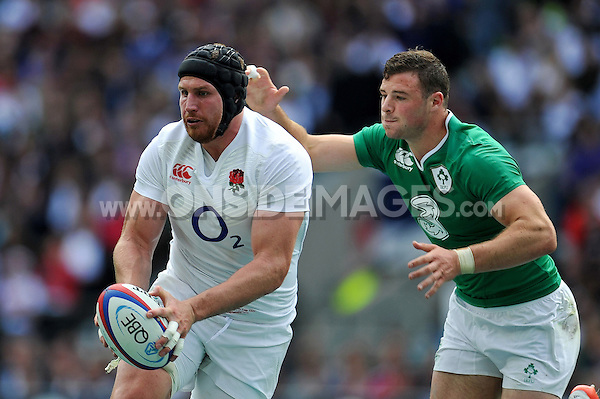 Ben Morgan of England in possession. QBE International match between England and Ireland on September 5, 2015 at Twickenham Stadium in London, England. Photo by: Patrick Khachfe / Onside Images