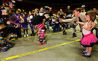 Fans cheer for the Charlotte Roller Derby Girls at Bojangles Arena in Charlotte, NC.