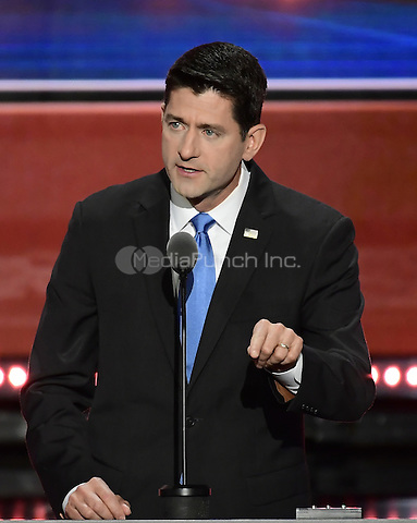 Speaker of the United States House of Representatives Paul Ryan (Republican of Wisconsin) makes remarks at the 2016 Republican National Convention held at the Quicken Loans Arena in Cleveland, Ohio on Tuesday, July 19, 2016.<br /> Credit: Ron Sachs / CNP/MediaPunch<br /> (RESTRICTION: NO New York or New Jersey Newspapers or newspapers within a 75 mile radius of New York City)