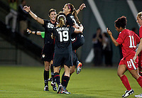USWNT forward Alex Morgan celebrates her goal. USWNT played played a friendly against Canada at JELD-WEN Field in Portland, Oregon on September 22, 2011.