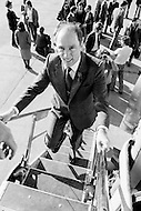 13 Feb 1980, Vancouver, British Columbia, Canada --- Canadian Prime Minister Pierre Trudeau campaigns ahead of the legislative elections on May 22. Opinion polls give the Liberal Party 49% of votes; the Conservatives 28%. He was the fifteenth Prime Minister of Canada from April 20, 1968 to June 4, 1979, and March 3, 1980 to June 30, 1984. --- Image by © JP Laffont