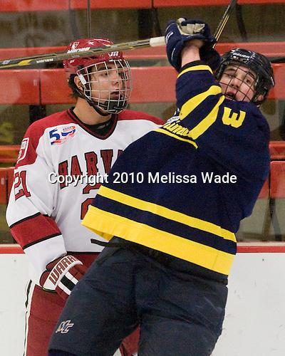 Marshall Everson (Harvard - 21), Kyle Bigos (Merrimack - 3) -  - The visiting Merrimack College Warriors defeated the Harvard University Crimson 3-1 (EN) at Bright Hockey Center on Tuesday, November 30, 2010.