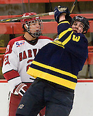 Marshall Everson (Harvard - 21), Kyle Bigos (Merrimack - 3) -  - The visiting Merrimack College Warriors defeated the Harvard University Crimson 3-1 (EN) at Bright Hockey Center on Tuesday, November 30, 2010.
