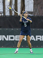 College Park, MD - April 19, 2018: Penn State Nittany Lions Katie O'Donnell (5) passes the ball during game between Penn St. and Maryland at  Field Hockey and Lacrosse Complex in College Park, MD.  (Photo by Elliott Brown/Media Images International)