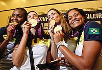 Fabiana,Sheila,Tahisa e Andenizia Jogadoras da seleção brasileira feminina de vôlei, durante entrevista coletiva nesta SEGUNDA-FEIRA (13)  no Hotel Marriot Guarulhos.FOTO ALE VIANNA/BRAZIL PHOTO PRESS