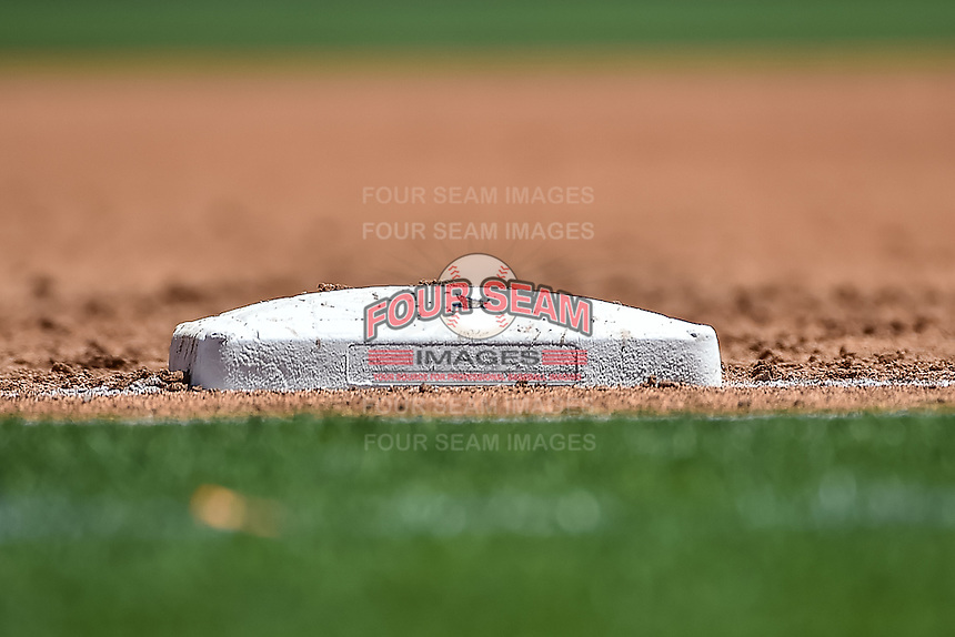 First base sits idle at Smith's Ballpark, home of the Salt Lake Bees during the game against the El Paso Chihuahuas in Pacific Coast League action at Smith's Ballpark on July 26, 2015 in Salt Lake City, Utah.El Paso defeated Salt Lake 6-3 in 10 innings.  (Stephen Smith/Four Seam Images)