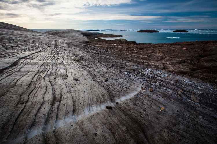The terminus of Humboldt Glacier, where the widest at glacier in the northern hemisphere, meets the sea at Kane Basin, Greenland.
