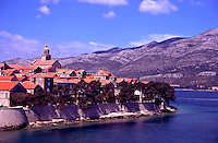 Croatia. Korcula. View of the town from ferryboat