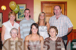 BIRTHDAY: Amanda Carmody having a ball at her 21st Birthday Party at Kirby's Brogue Inn, Tralee, on Friday night with family and friends. Front l-r: Betty Brosnan, Amanda Carmody (birthday girl) and Noreen Carmody. Back l-r: Ann, Chris, Jennifer and Christy Carmody (Lyreacrompane)..