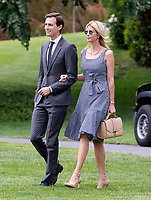 Jared Kushner and Ivanka Trump walk on the South Lawn of the White House to join United States President Donald J. Trump aboard Marine One as they depart the White House in Washington, DC  for a trip to New York City on Thursday, May 4, 2017.<br /> Credit: Ron Sachs / CNP /MediaPunch