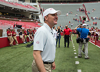 Hawgs Illustrated/BEN GOFF <br /> Chad Morris, Arkansas head coach, walks onto the field Saturday, April 6, 2019, before the Arkansas Red-White game at Reynolds Razorback Stadium.