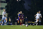 18 November 2016: Kansas's Katie McClure (12) is chased by North Carolina's Hannah Gardner (71) and Julia Ashley (16). The University of North Carolina Tar Heels played the University of Kansas Jayhawks at Fetzer Field in Chapel Hill, North Carolina in a 2016 NCAA Division I Women's Soccer Tournament Second Round match. UNC won the game 2-0.