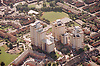 Aerial view of Radford flats complex in Nottingham taken from above Alfreton Road; looking southwest,