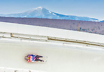 5 December 2014: Aidan Kelly, sliding for the USA, slides through Curve Number 14 on his first run, ending the day with a 7th place finish and a combined 2-run time of 1:43.349 in the Men's Competition at the Viessmann Luge World Cup, at the Olympic Sports Track in Lake Placid, New York, USA. Mandatory Credit: Ed Wolfstein Photo *** RAW (NEF) Image File Available ***