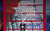 United States Vice President Mike Pence speaks at the 2018 Conservative Political Action Conference (CPAC) at the Gaylord National Resort and Convention Center in National Harbor, Maryland on Thursday, February 22, 2018.<br /> Credit: Ron Sachs / CNP