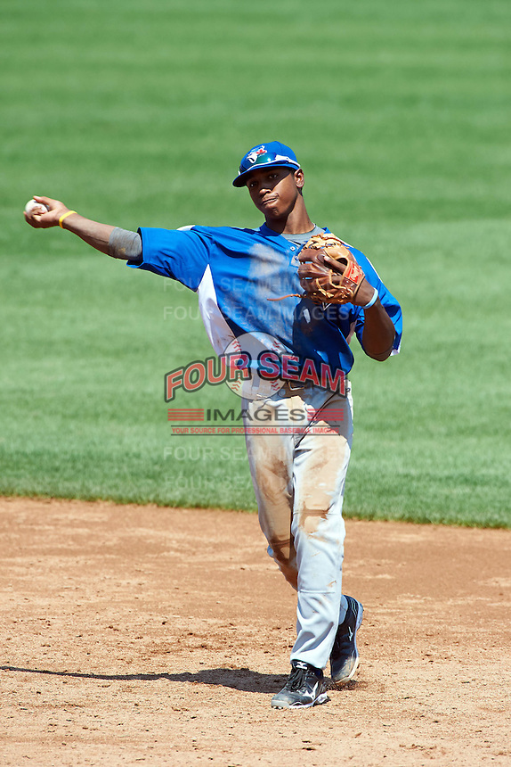 Cory Thompson #3 of Mauldin High School in Mauldin, South Carolina playing for the Toronto Blue Jays scout team during the East Coast Pro Showcase at Alliance Bank Stadium on August 3, 2012 in Syracuse, New York.  (Mike Janes/Four Seam Images)