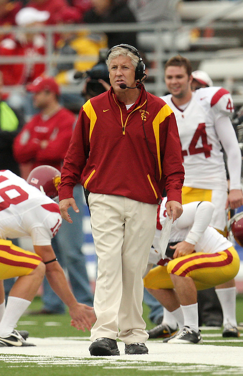 Pete Carroll, head football coach at the University of Southern California, patrols the sideline while directing the Trojans during their game against the Washington State University Cougars on October 18, 2008, at Martin Stadium in Pullman, Washington.  The Trojans won the game 69-0 to solidify their spot as one of the top ten college football teams in the country.