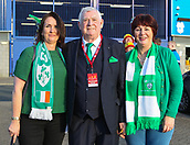 9th October 2017, Cardiff City Stadium, Cardiff, Wales; FIFA World Cup Qualification, Wales versus Republic of Ireland; Republic of Ireland fans with FAI President Tony Fitzgerald (C)