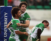 Manawatu captain Nick Crosswell congratulates Tevita Taufui for scoring the winning try during the Air NZ Cup rugby match between Manawatu Turbos and Counties-Manukau Steelers at FMG Stadium, Palmerston North, New Zealand on Sunday, 2 August 2009. Photo: Dave Lintott / lintottphoto.co.nz