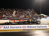 Sep 27, 2013; Madison, IL, USA; NHRA top fuel dragster driver Cory McClenathan during qualifying for the Midwest Nationals at Gateway Motorsports Park. Mandatory Credit: Mark J. Rebilas-