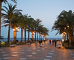 Balcon de Europa terrace in evening town of Nerja, Malaga province, Spain