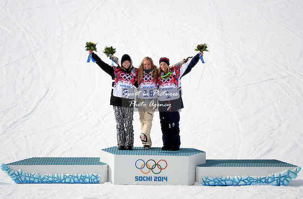(l to r)j Enni Rukajarvi (FiN, silver), Jamie Anderson (USA, gold) and Jenny Jones (GBR, bronze0. Womens Snowboard Slopestyle - semi final - PHOTO: Mandatory by-line: Garry Bowden/SIPPA/Pinnacle - Photo Agency UK Tel: +44(0)1363 881025 - Mobile:0797 1270 681 - VAT Reg No: 768 6958 48 - 090214 - 2014 SOCHI WINTER OLYMPICS - Rosa Khutor Extreme Park, Sochii, Russia