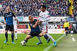 05.10.2019, Benteler Arena, Paderborn, GER, 1.FBL, SC Paderborn 07 vs 1. FSV Mainz 05<br /> <br /> DFL REGULATIONS PROHIBIT ANY USE OF PHOTOGRAPHS AS IMAGE SEQUENCES AND/OR QUASI-VIDEO.<br /> <br /> im Bild / picture shows<br /> Sebastian Vasiliadis (Paderborn #39) im Duell / im Zweikampf mit Jean-Paul Boëtius / Boetius (FSV Mainz 05 #05), <br /> <br /> Foto © nordphoto / Ewert
