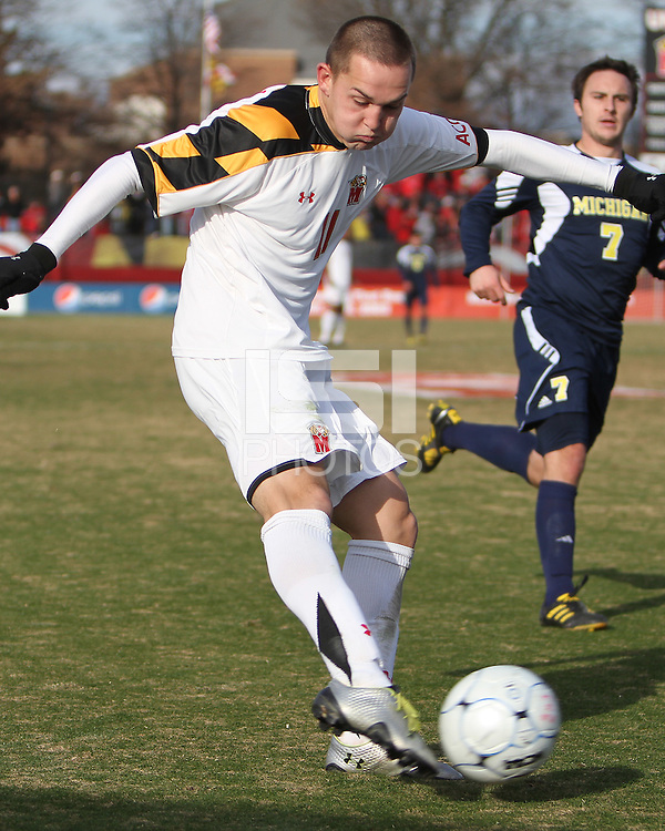 Casey Townsend #11 of the University of Maryland takes a shot during an NCAA quarter-final match against the University of Michigan at Ludwig Field, University of Maryland, College Park, Maryland on December 4 2010.Michigan won 3-2 AET.