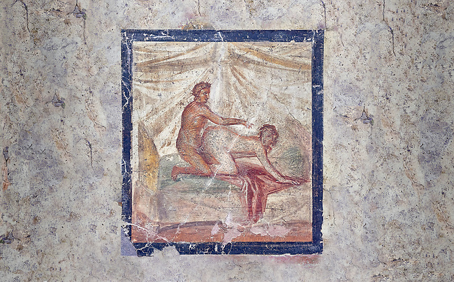Roman Erotic Fresco from Pompeii depicting  sexual activities,  Naples National Archaeological Museum - from a private house venereum, 50-79 AD , , inv no 27696 ,