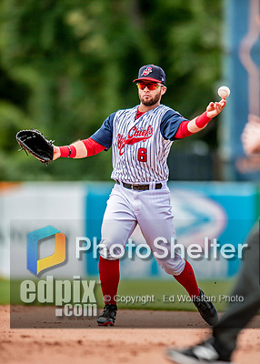 22 July 2018: Syracuse SkyChiefs infielder Jose Marmolejos in action against the Louisville Bats at NBT Bank Stadium in Syracuse, NY. The Bats defeated the Chiefs 3-1 in AAA International League play. Mandatory Credit: Ed Wolfstein Photo *** RAW (NEF) Image File Available ***