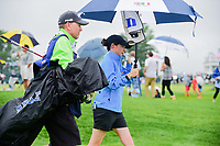 Leona Maguire (a)(IRL) departs the first tee with her Duke towel hanging inside her umbrella during Friday's second round of the 72nd U.S. Women's Open Championship, at Trump National Golf Club, Bedminster, New Jersey. 7/14/2017.<br /> Picture: Golffile | Ken Murray<br /> <br /> <br /> All photo usage must carry mandatory copyright credit (&copy; Golffile | Ken Murray)