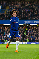 Chelsea's Willian celebrates scoring the opening goal <br /> <br /> Photographer Craig Mercer/CameraSport<br /> <br /> The Premier League - Chelsea v Crystal Palace - Saturday 10th March 2018 - Stamford Bridge - London<br /> <br /> World Copyright &copy; 2018 CameraSport. All rights reserved. 43 Linden Ave. Countesthorpe. Leicester. England. LE8 5PG - Tel: +44 (0) 116 277 4147 - admin@camerasport.com - www.camerasport.com