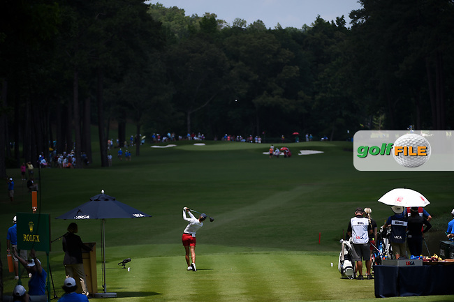 Azahara Munoz (ESP) watches her tee shot on 10 during round 3 of the U.S. Women's Open Championship, Shoal Creek Country Club, at Birmingham, Alabama, USA. 6/2/2018.<br /> Picture: Golffile   Ken Murray<br /> <br /> All photo usage must carry mandatory copyright credit (© Golffile   Ken Murray)