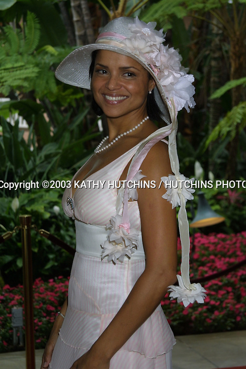 ©2003 KATHY HUTCHINS / HUTCHINS PHOTO AGENCY.THE ROWELL FOSTER CHILDREN'S POSITIVE PLAN.HIGH TEA AT THE BEVERLY HILLS HOTEL.BEVERLY HILLS, CA.JUNE 8, 2003..VICTORIA ROWELL.