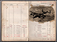 BNPS.co.uk (01202 558833)<br /> Pic: IAA/BNPS<br /> <br /> Flt Sgt Leonard Sumpters Dambuster raid logbook included a picture of one of the AVRO Lancaster's used.<br /> <br /> A rare, signed menu for a slap-up dinner for the heroic Dam Busters crew after the famous wartime raid is tipped to sell for £7,500.<br /> <br /> The celebratory meal was held to mark the decorations awarded that day at Buckingham Palace to the survivors of Operation Chastise.<br /> <br /> The do was at the Hungaria Restaurant on London's Regent Street and was attended by crew members including Victoria Cross winner Guy Gibson. <br /> <br /> The men feasted on crab cocktail to start, stuffed duck with minted peas and new potatoes for mains and strawberries in maraschino liquor for dessert.