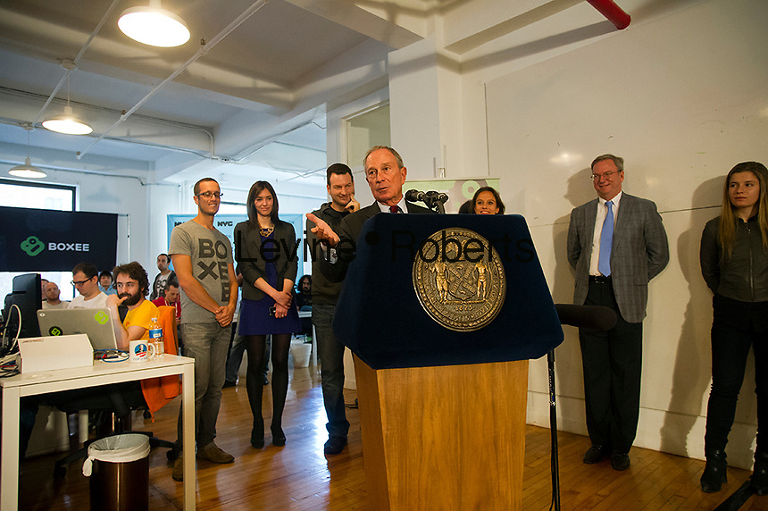 NY Mayor Mike Bloomberg visits Boxee's Headquarters in the Chelsea neighborhood in New York, on Monday, October 1, 2012.  According to Mayor Bloomberg, the city is on track to create the most jobs this year since job tracking started 50 years ago. Boxee sells a software and hardware product that enables streaming of video from the internet onto your television. (© Frances M. Roberts)