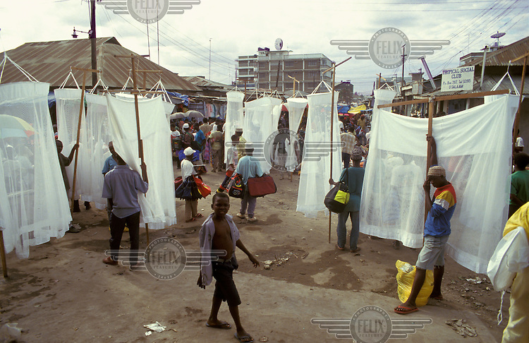 Mosquito nets for sale to a malaria aware society.