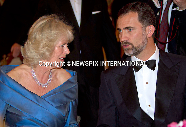 """CAMILLA, DUCHESS OF CORNWALL AND CROWN PRINCE FELIPE.at the official welcome dinner at the Royal Palace of Madrid (Palacio Real de Madrid/Palacio de Oriente), Madrid_30/11/2011..Mandatory Credit Photo: ©Dias/NEWSPIX INTERNATIONAL..**ALL FEES PAYABLE TO: """"NEWSPIX INTERNATIONAL""""**..IMMEDIATE CONFIRMATION OF USAGE REQUIRED:.Newspix International, 31 Chinnery Hill, Bishop's Stortford, ENGLAND CM23 3PS.Tel:+441279 324672  ; Fax: +441279656877.Mobile:  07775681153.e-mail: info@newspixinternational.co.uk."""" NO UK USE UNTIL 28TH MARCH 2011 """""""