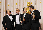 HOLLYWOOD, CA - FEBRUARY 24: Jack Nicholson, George Clooney, Grant Heslov and Ben Affleck pose in the press room the 85th Annual Academy Awards at Dolby Theatre on February 24, 2013 in Hollywood, California.