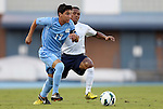 21 September 2012: UNC's Danny Garcia (17) and Virginia's Kyler Sullivan (behind). The University of North Carolina Tar Heels defeated the University of Virginia Cavaliers 1-0 at Fetzer Field in Chapel Hill, North Carolina in a 2012 NCAA Division I Men's Soccer game.