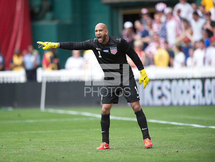 Tim Howard (1) of the USMNT yells to his team during the game at RFK Stadium in Washington DC.  The USMNT defeated Germany, 4-3, in a friendly match.