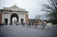 peloton of favorites passing through the Menin Gate War Memorial<br /> <br /> <br /> 77th Gent-Wevelgem 2015