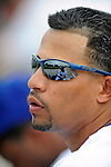 12 March 2008: Los Angeles Dodgers' shortstop Rafael Furcal looks out from the dugout during a Spring Training game against the Washington Nationals at Holman Stadium, in Vero Beach, Florida. The Nationals defeated the Dodgers 10-4 at the historic Dodgertown ballpark. 2008 marks the final season of Spring Training at Dodgertown for the Dodgers, as the team will move to new training facilities in Arizona starting in 2009 after 60 years in Florida...Mandatory Photo Credit: Ed Wolfstein Photo