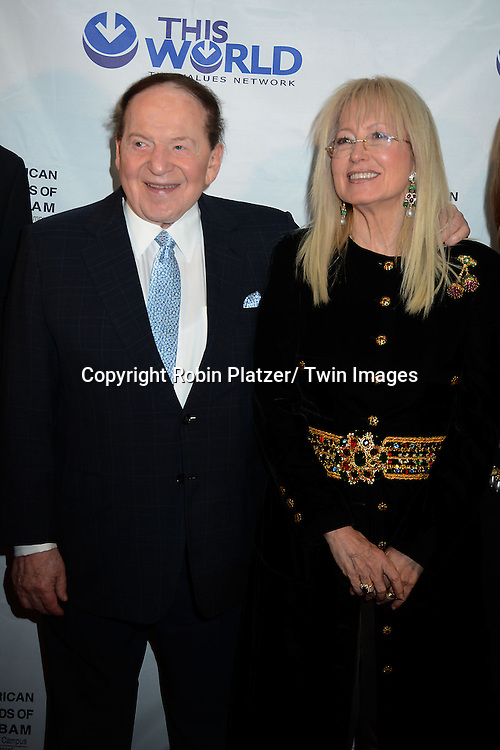 Sheldon Adelson and wife  Dr Miriam Adelson  attend the Inaugural Champion of Jewish Values International Awards Gala on June 4, 2013 at the Marriott Marquis Hotel in New York City. Sheldon Adelson, Mrs Miriam Adelson and Dr Mehmet Oz were honored.