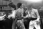 """Blitz Kids New Romantics at The Blitz Club Covent Garden, London, England 1980. Julia Fodor (Princess Julia) and a couple of """"Space Cadets"""" dancing the night away. Stephen Jones the milliner is centre back view.<br /> <br /> 16x12 PARIS 2015 LES DOUCHES LA GALERIE <br /> <br /> <br /> THIS ARE MEDIUM RES FILES ONLY FOR REFERENCE AND SHOULD NOT BE SENT OUT THEY OPEN AT 11MGB"""