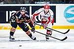 Stockholm 2013-12-28 Ishockey Hockeyallsvenskan Djurg&aring;rdens IF - Almtuna IS :  <br /> Djurg&aring;rden Joakim Eriksson i kamp om pucken med Almtuna Mattias Johansson<br /> (Foto: Kenta J&ouml;nsson) Nyckelord: