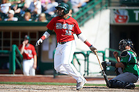 Fort Wayne TinCaps outfielder Yeison Asencio #12 during a Midwest League game against the Dayton Dragons at Parkview Field on August 19, 2012 in Fort Wayne, Indiana.  Dayton defeated Fort Wayne 5-1.  (Mike Janes/Four Seam Images)