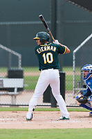 Oakland Athletics shortstop Jeremy Eierman (10) at bat during an exhibition game against Team Italy at Lew Wolff Training Complex on October 3, 2018 in Mesa, Arizona. (Zachary Lucy/Four Seam Images)